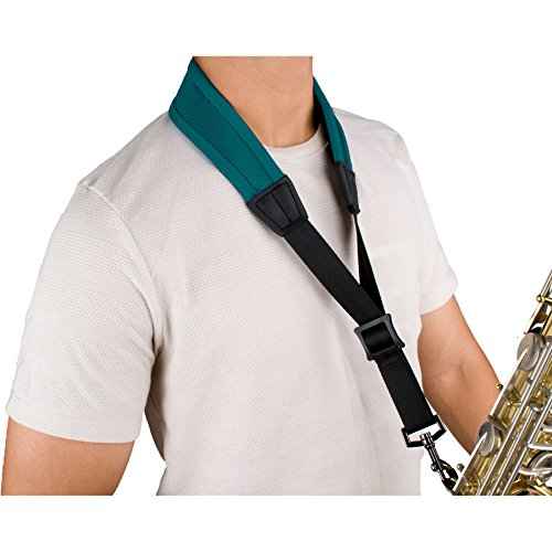 Protec Ballistic Neopren, Saxophon Nackengurt mit Beschichtete Metall-Haken 24-Inch (Tall) blaugrün -