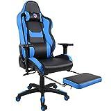 Kinsal Sedia Gaming ergonomica da gioco grande con schienale alto, sedia da ufficio girevole Sedia da gioco PC con poggiatesta extra morbido, supporto lombare e poggiapiedi retrattile (Nero/blu)