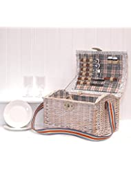 Cesta de picnic con accesoriospara dos personas, diseño shabby chic