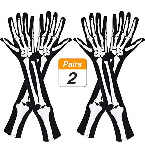 Jovitec 2 Paar Skelett Handschuhe Lange Arm Vollfinger Handschuhe für Halloween Cosplay Parteien Zubehör