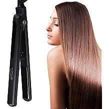 JINRI Profesional Planchas para el pelo con 1 pulgada de cerámica flotante Tourmaline, pantalla digital
