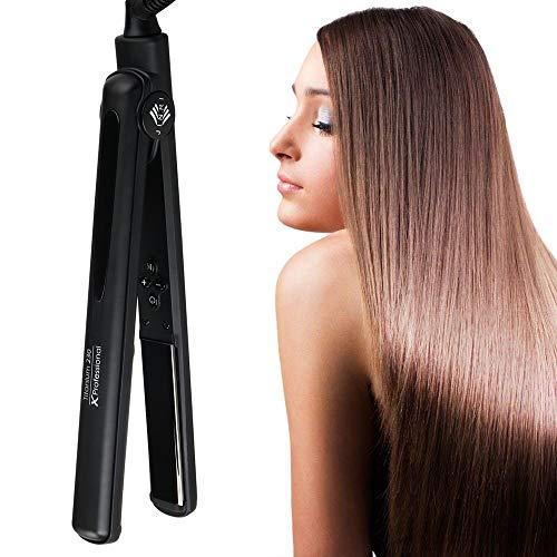 JINRI Profesional Planchas para el pelo con 1 pulgada de cerámica flotante Tourmaline, pantalla digital y 140C-230 C doble voltaje plancha de pelo- Negro