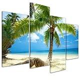 Kunstdruck - Strand im Paradies - Bild auf Leinwand - 120x80 cm 4 teilig - Leinwandbilder - Bilder als Leinwanddruck - Wandbild von Bilderdepot24 - Urlaub, Sonne & Meer - Südsee - Panorama - Palme am Strand