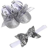 Bebé Prewalker Zapatos ️️Lonshell primeros pasos para Bebé-niñas,Zapatos de Lentejuelas,Sandalias de Bowknot +Diadema para 0-6 6-12 12-18 meses