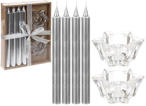 Pack de 4 - Velas de Navidad Glittery Silver de 20cm con Star Holders