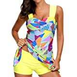 SEWORLD Damen Sommer Mode Frauen Tankini Sets mit Jungen Shorts Damen Bikini Set Bademode Hochdrücken Gepolsterter BH(Gelb,EU-42/CN-L)