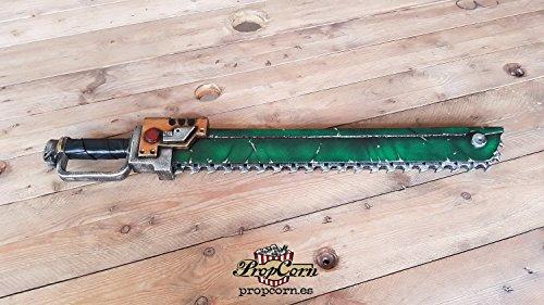 Warhammer 40k Chainsword inspiriert Replica, LARP sicher Schwert für Cosplay, sehr leicht und stark, Schaum Waffe mit Fiberglaskern. Grün und Gold.