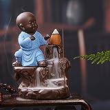 #6: JaipurCrafts Kung-Fu Style Monk Buddha Smoke Back flow Cone Incense Holder| Decorative Showpiece- with 6 free Smoke Back flow Scented Cone Incenses