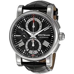 Montblanc Timewalker 102377 44mm Stainless Steel Case Black Calfskin Men's Watch