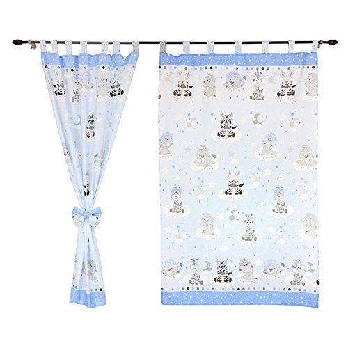 TupTam Kinderzimmer Vorhänge 2er Set mit Schleifen 155x95cm, Farbe: Baby Tiere Grau/Blau, Größe: ca. 155x95 cm (Zebra Tier Vorhang-set)