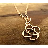 Rose Gold Necklace Celtic Loveknot Irish Charm 24k Rose Gold Over Solid Silver On Gold Filled Chain