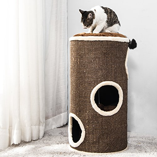 PURLOVE® Large Cat Tree Cat Scratcher Activity Centre Scratching Post Climbing Tower Tree with Cat Toys Mouse (Brown, Type 3)