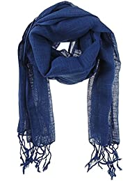 Ladies 100% Cotton Block Colour Linen Look Scarf Tassels In 12 Different Colours
