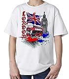 London Tees Jungen T-Shirt, Einfarbig Weiß Weiß 158