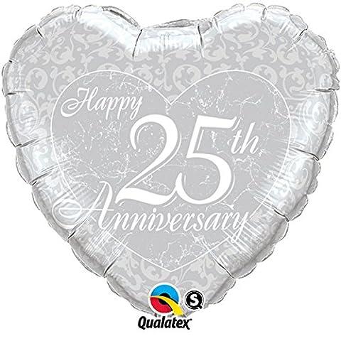 Qualatex 18 Inch Happy 25th Anniversary Heart Shaped Foil Balloon