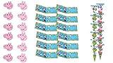 Peppa Pig 0483, Pack Invitados Fiestas y Cumpleaños, 12 caretas, 12 Conos para chuches, 12 Invitaciones con sobre