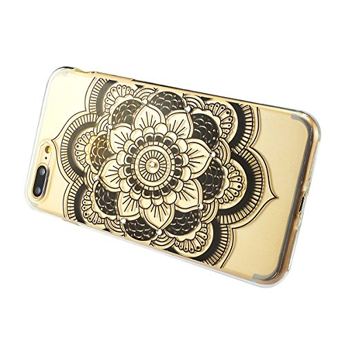 iPhone 8 Plus Hülle, Fraelc iPhone 7 Plus Bling Diamant Glänzende Schutzhülle Weiche Flexible TPU Silikon Bumper Handyhülle für Apple iPhone 7 Plus / 8 Plus Gummihülle mit Schwarze Henna Design Backco # 7