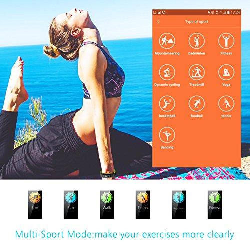 Muzili Fitness Armband YG3C Aktivitätstracker Herzfrequenzmonitor Farbdisplay IP68 Wasserdicht Fitness Tracker mit Schrittzähler Schlafmonitor Kalorienzähler für Kinder Damen Herrn(Black Green) - 3