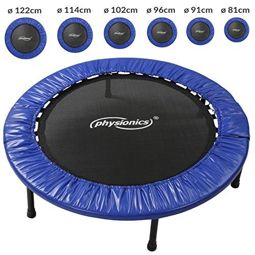 Physionics Mini-Trampolin | in verschiedenen größen | max. Belastung: 100 kg | Fitness Trampolin für Drinnen und Draußen | Robustes Trampolin für Kinder & Erwachsene