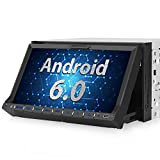 PUMPKIN Android Autoradio Moniceiver Naviceiver mit GPS Navigation 7 Zoll/ 18cm Klappbarem Bildschirm Unterstützt Bluetooth WLAN DAB+ DVD CD Subwoofer MirrorLink iPhone Audio Eingang