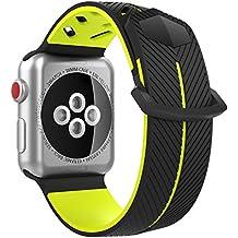 MoKo Correa para Apple Watch 38mm Series 3 / 2 / 1, Correa deportiva de repuesto de silicona suave para Apple Watch Nike 38mm 2017, Negro (versiones no aptas de 42 mm)