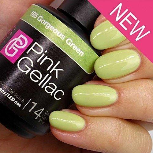 Vernis à ongles Pink Gellac 185 Gorgeous Green. 15 ml gel Manucure et Nail Art pour UV LED lampe, top coat résistant shellac
