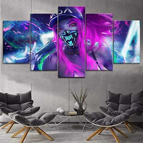 WEPAINT Gerahmte Spiel Kda Akali Maske Neon Poster Wohnkultur Wandkunstwerk Leinwand Druck Typ Modulare Bilder 5 Stück, Rahmen, 20X35 20X45 20X55 cm -