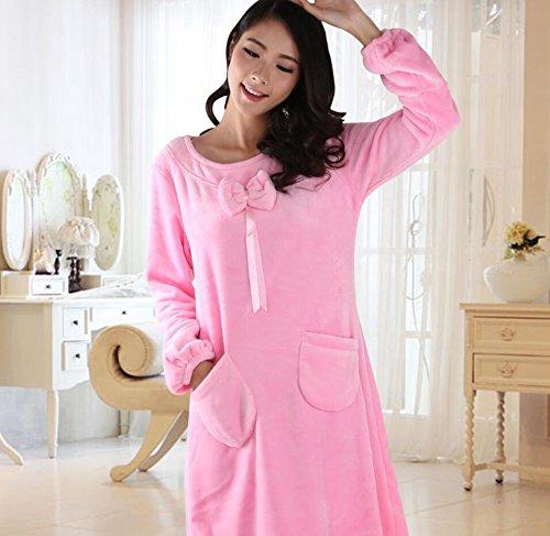 GL&G Länge Ärmel Flansch Lange Stil Luft Permeable Kleid Koralle Samt Komfortable Rock Modische Loose Pyjamas,Ms Pink,L