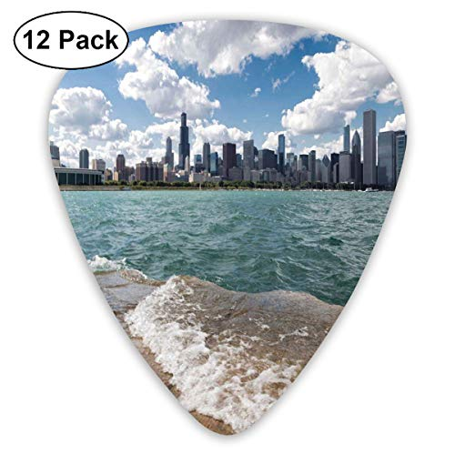 Celluloid Guitar Picks - 12 Pack,Abstract Art Colorful Designs,Michigan Lake Chicago Scenery In A Cloudy Day Skyline Urban Modern Cityscape,For Bass Electric & Acoustic Guitars.