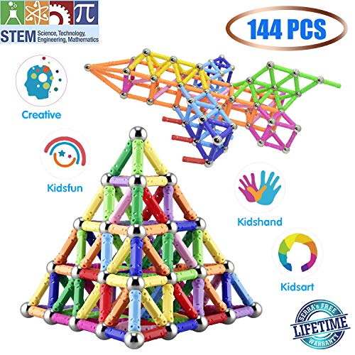 Veatree 144 Stücke Puzzle Magnetische Bausteine Spielzeug Magnet BAU Bauen Kit Bildung Spielzeug für Kinder Spielen Stacking Spiel mit Magnetischen Ziegeln und Sticks (Bau-spielzeug Für Kinder)
