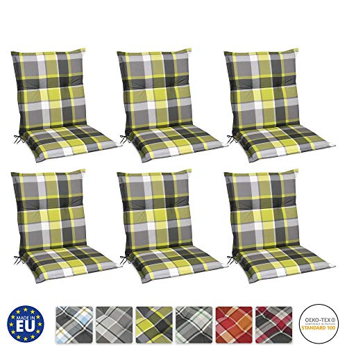 Beautissu 6er Set Sunny GR Niedriglehner Auflagen Set für Gartenstühle 100x50 cm in Grün Kariert - Bequeme Gartenstuhl Stuhlkissen Polsterauflagen UV-Lichtecht