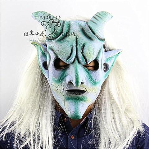 SQCOOL Halloween Mask Long Hair Silver Angle King Headgear Latex de haute qualité Christmas Haven House Robe Horror Scary Funny (Schwarze Katzen-kostüm Diy)