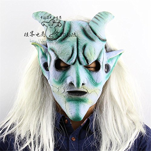 SQCOOL Halloween Mask Long Hair Silver Angle King Headgear Latex de haute qualité Christmas Haven House Robe Horror Scary Funny Props