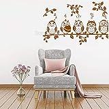 Modeganqingg Simpatico Gufo Adesivo murale Gufo Seduto su Un ramoscello Adesivo Moderno Home Decor Brown S 64 cm x 42 cm