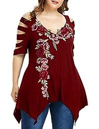 FAMILIZO Camisetas Mujer Verano Blusa Mujer Elegante Camisetas Mujer Manga  Corta Algodón Camisetas Mujer Fiesta Camisetas Sin aa431c85ad6af