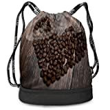 Bundle Drawstring Backpack Coffee Beans Heart Travel Durable Large Space GymSack Trendy Multifunction