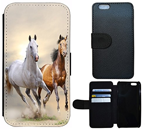 Schutz Hülle Flip Cover Handy Tasche Etui Case für (Apple iPhone 5 / 5s, 1081 Cartoon Tablet Doktor Arzt) 1084 Pferd Pferde Braun Weiß