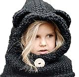 MILEEO Mütze Schal Set Nettes Baby Kind Warm Winter Strickmütze Kapuzen Ohr Kapuzen Schal für Mädchen Junge Blau one size