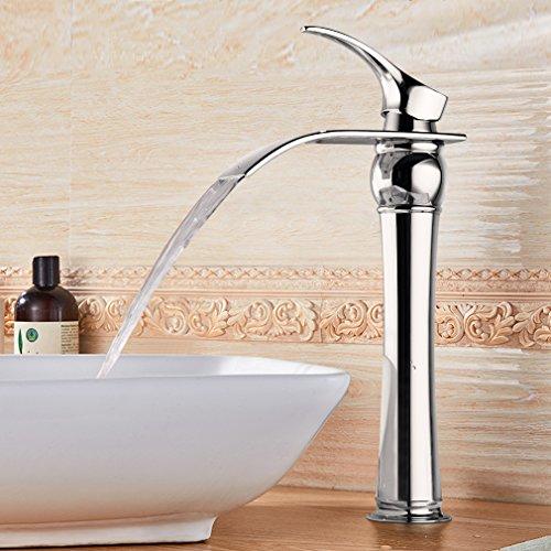 BONADE Messing Chrom Einhebel-Waschtischarmaturen mit Hoher Wasserfall Auslauf Wasserhahn Armatur Bad für Badezimmer Waschbecken