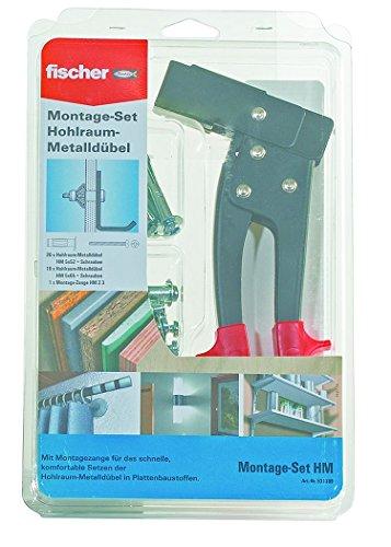 fischer Montage-Set für die Hohlraumbefestigung - mit Montagezange für das schnelle, komfortable Setzen der Hohlraum-Metalldübel HM in Plattenbaustoffen - 31 Teile - Art.-Nr. 531389