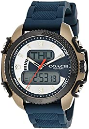 Coach Mens Quartz Wrist Watch, Blue Silicone- 14602506