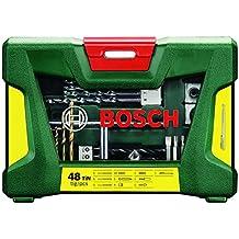 Bosch V-Line - Maletín de 48 unidades para perforar y atornillar, recubrimiento de titanio, incluye barra imantada