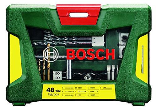 Bosch V-Line – Maletín de 48 unidades para perforar y atornillar, recubrimiento de titanio, incluye barra imantada