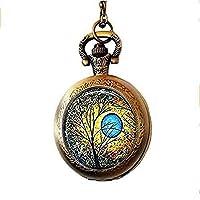 xinzhahi Blue Sun Art Pocket Watch Necklace,Resin Everyday Gift