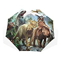 ISAOA Automatic Travel Umbrella Compact Folding Umbrella Clouds Funny Dinosaurs Windproof Ultra Light UV Protection Umbrella for Women Men
