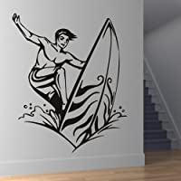 Navigare Sea Waves Surf Tavola da surf Wall Stickers Palestra Sport Art Stickers disponibile in 5 dimensioni e 25 colori Extra Grande Bianco