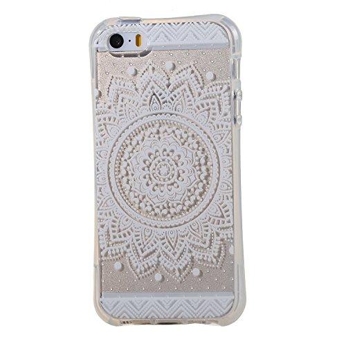 iPhone 5 Silicone Case,iPhone SE Coque - Felfy Ultra Mince Flexible Transparent Soft Gel Case Cover Coque Etui Peint Beaux Motifs Style Protection TPU Case Cover (Girafe Mignonne) + 1 x Noir Stylus +  Flower Lace