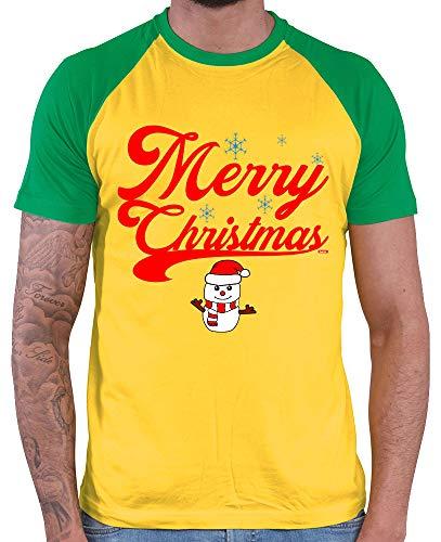 HARIZ  Herren Baseball Shirt Weihnachten Merry Christmas Stadt Weihnachten Weihnachts Geschenke Liebe Plus Geschenkkarte Gold/Kelly Green - Green Mann Kostüm Party Stadt