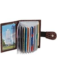 """Titulaire de la carte de crédit """"Rimbaldi"""" XXL en cuir veau avec 22 emplacements pour cartes de cuir bovin avec motif crocodile en multi-ton Brown"""