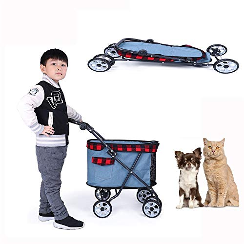 FAMLYJK Haustier-Katze u. Hundekiste u. Fördermaschine, Faltbare Haustier-Fördermaschine, 4 Räder, die Fördermaschinen-Spaziergänger Rollen, stützen 25 Pfund-Tiere,A -